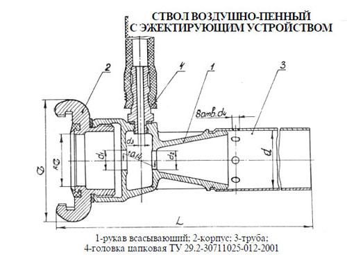 чертеж воздушно-пенного ствола